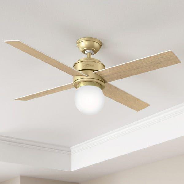 Hunter Fan Hepburn Brass 52 Inch Ceiling Fan With 4 White