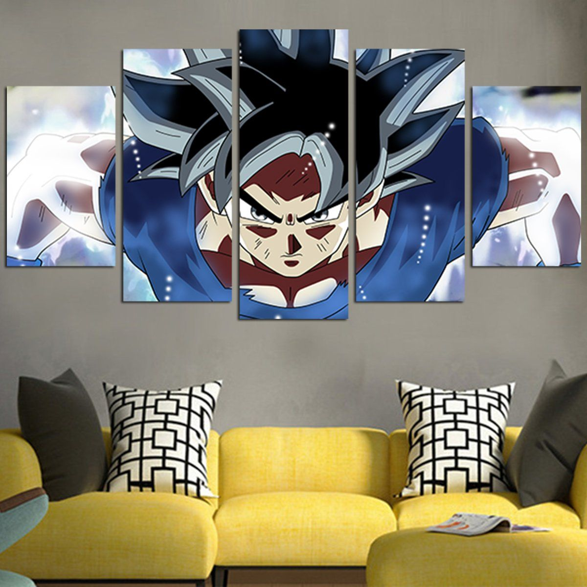 Super black goku dragon balls wall art canvas products dragon