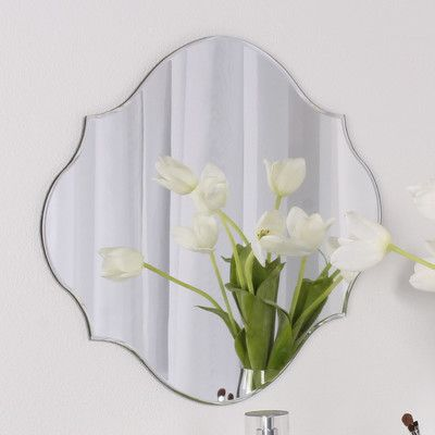 "DSOV Reign Frameless Oval Scalloped Beveled Wall Mirror Size: 16"" H x 20"" W"