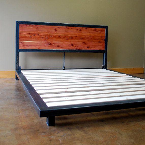 Kraftig Platform Bed With Tennesee Cedar Headboard In 2021 Steel Bed Frame Cedar Headboard Steel Bed