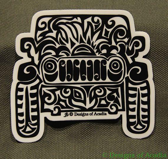 Sticker large jeep tribal tattoo die cut