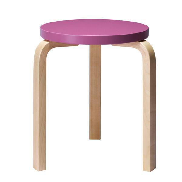 Aalto stool 60, purple-birch, by Alvar Aalto.