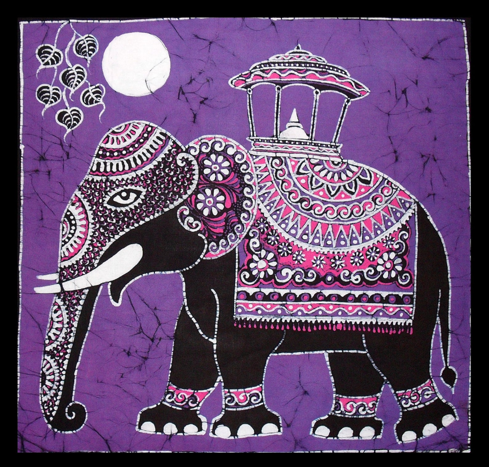 Batik Cushion Cover Unique Elephant Design For Sofa Purple