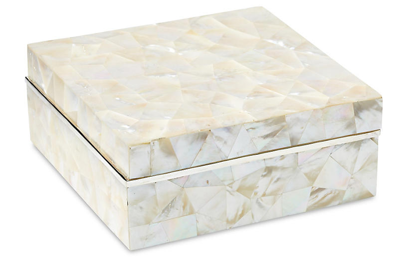 MotherofPearl Box with Sterling Silver is part of Silver Home Accents Guest Rooms - This stunning box features a surface crafted of authentic motherofpearl tiles  Each piece in the mosaic gleams for a naturally exquisite presentation  Finished with sterling silver details