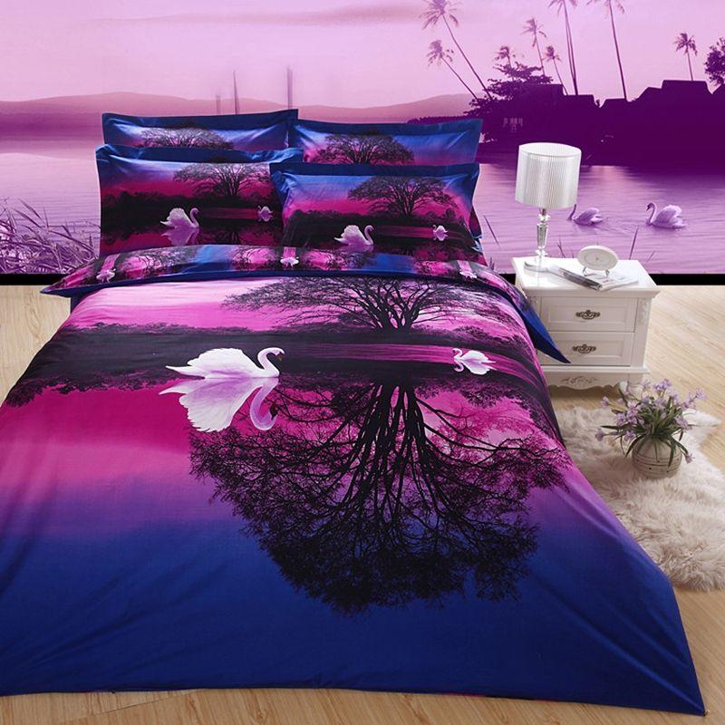 Purple And Blue Swan Lake Print Jungle Safari Themed