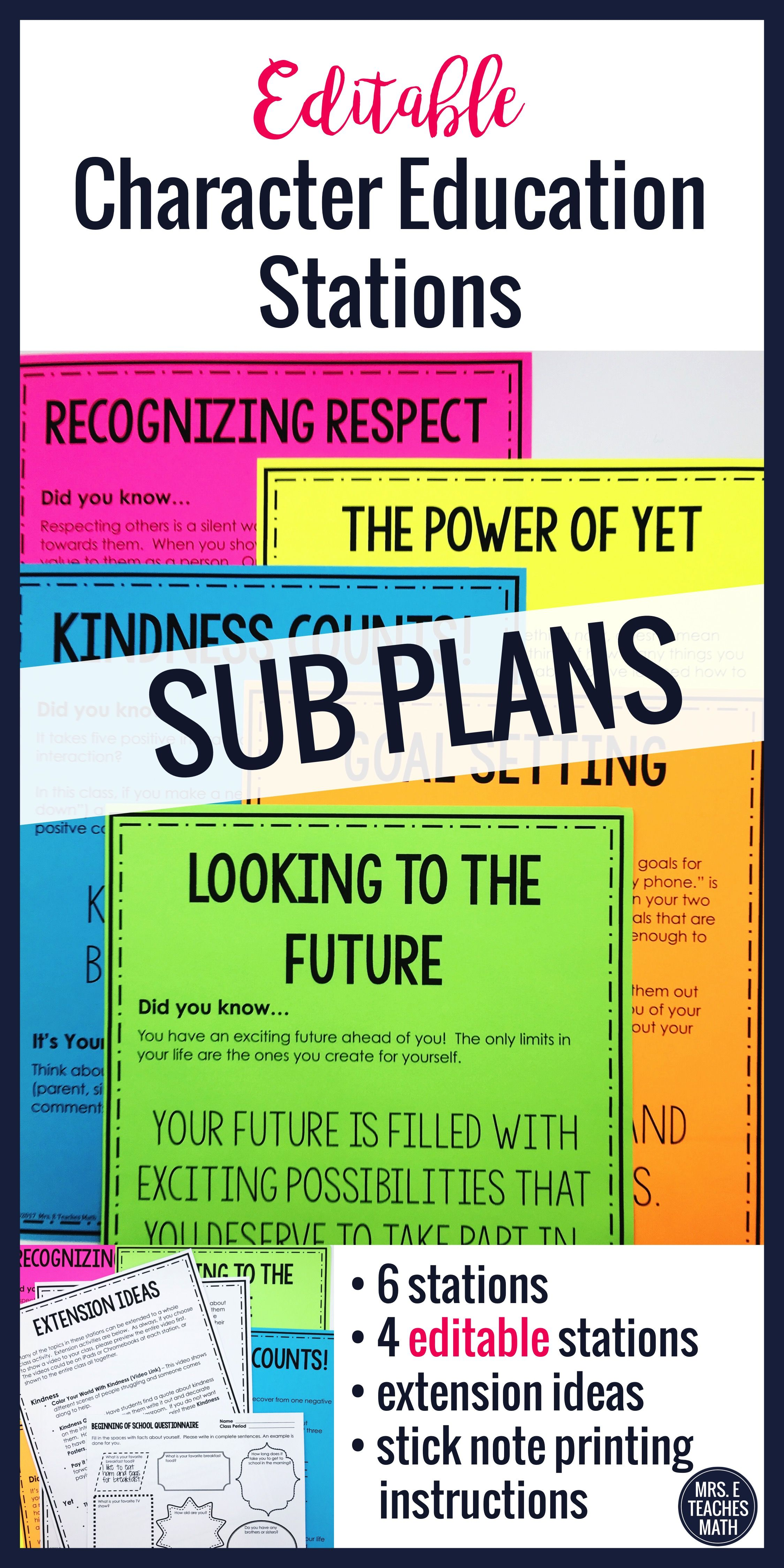I Always Need Editable Sub Plans For Middle School Or High