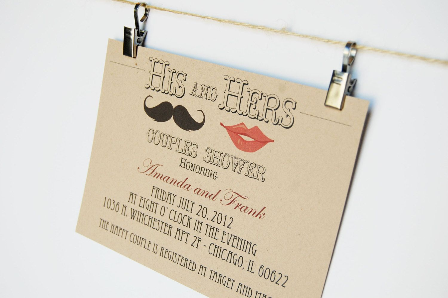 Hipster wedding invitations his and hers couples shower ...