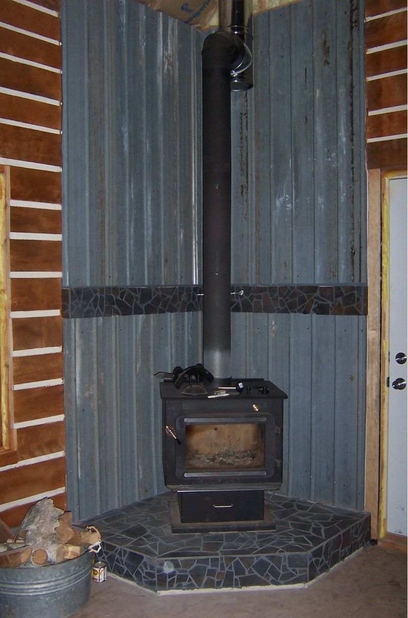 Wood Stove Floor Heat Shield Inside Metal Barn Roof Tin Woodstove Heat Shield Our Little Cabin Sonicecapsule Wood Stove Wall Wood Stove Wood Stove Fireplace