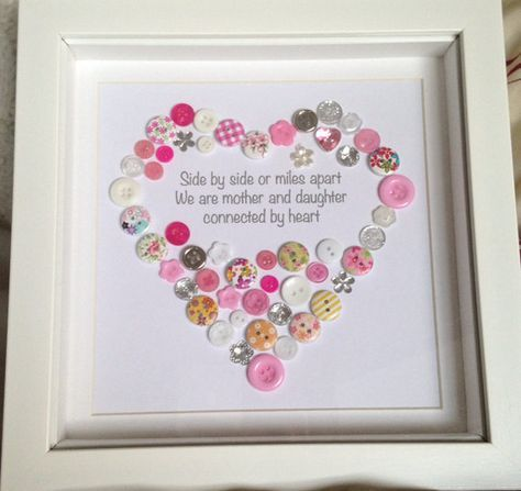 Mother & Daughter Mum Personalised Heart by ButtonsandBobbinsUK ...