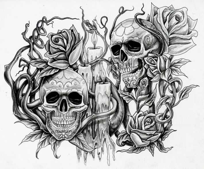 Harley Davidson Lettering Stencils Skulls Candles And Plants Tattoo Design Tatoeages Schedel
