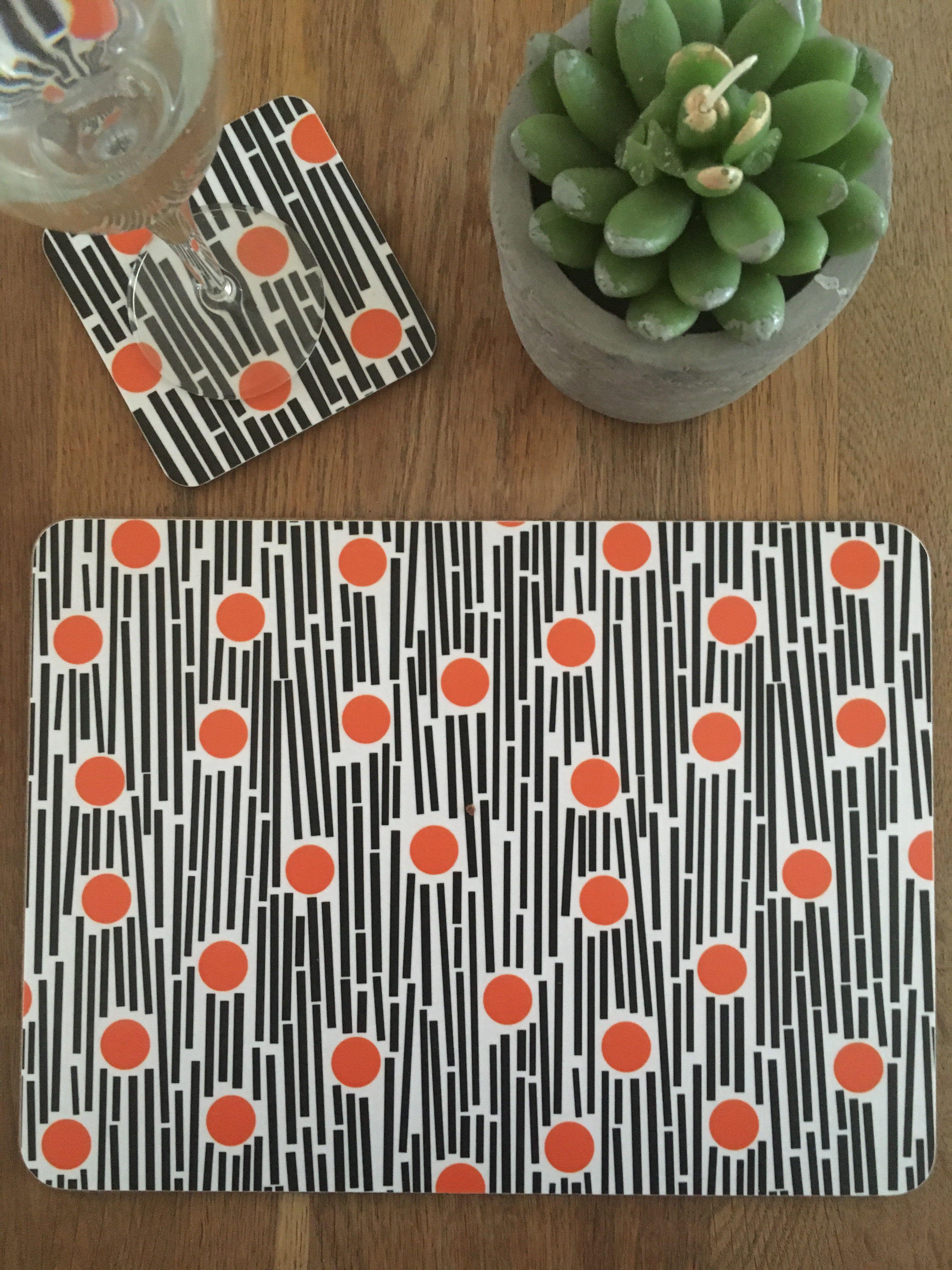 Orange Black Placemat Coaster Modern Homewares Placemats Coaster Design
