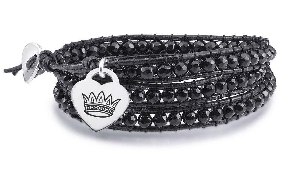 Zeta Tau Alpha Symbol Heart Charm on Black Wrap Bracelet