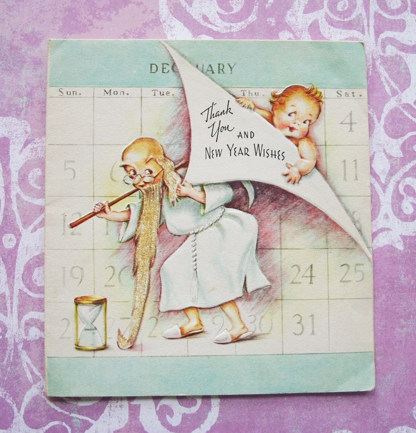 Vintage New Year Wishes Father Time Baby Calendar Greeting Etsy New Year Wishes Vintage Happy New Year New Year Greeting Cards