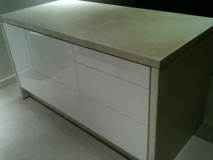 IKEA Hackers White concrete wrapped Ikea kitchen island Theres