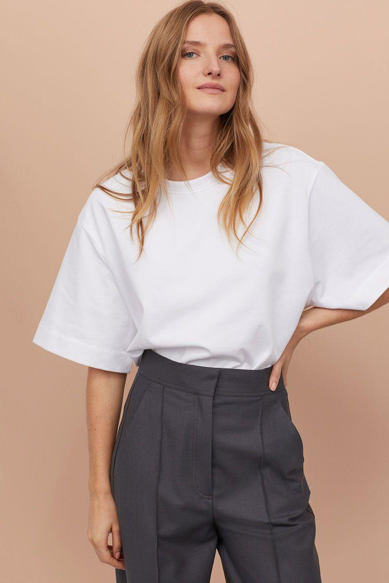 Oversized T-shirt - White - Ladies   H&M US   Oversized white t ...
