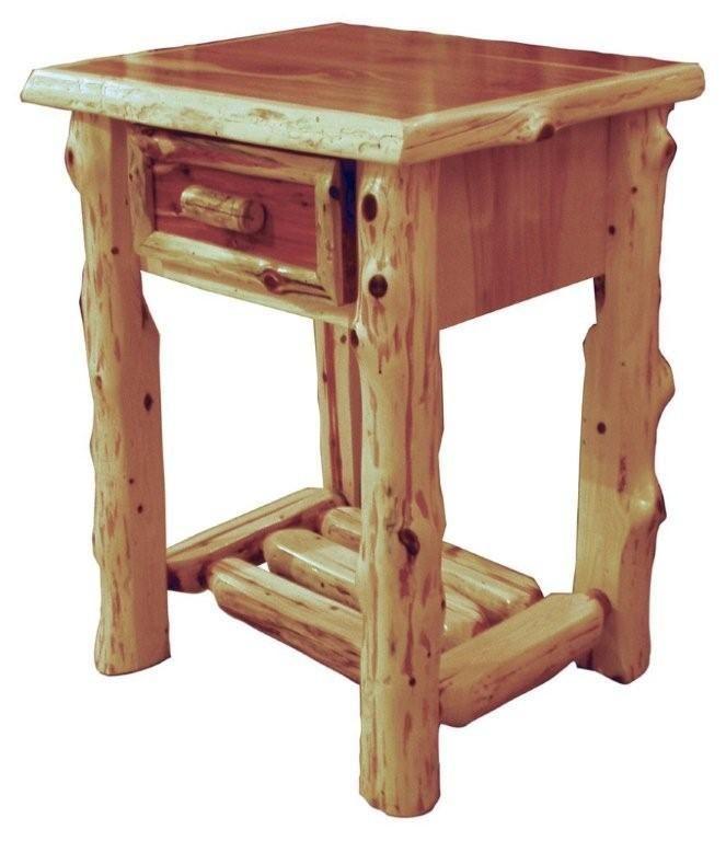 One Drawer Log Nightstand Plan. red cedar bed. Constructing Log Furniture