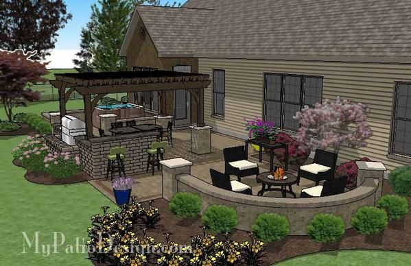 Our Dreamy Backyard Patio Design With Hot Tub Pergola