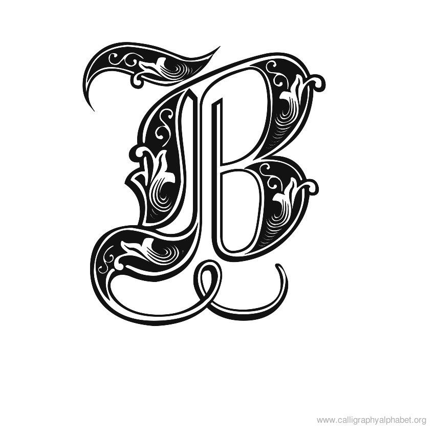 Calligraphy alphabet fonts b