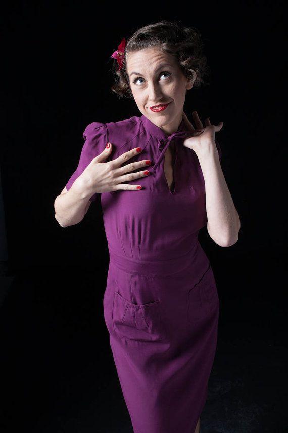 1940s dress/ purple dress/ mandarin collar/ 40s reproduction ...