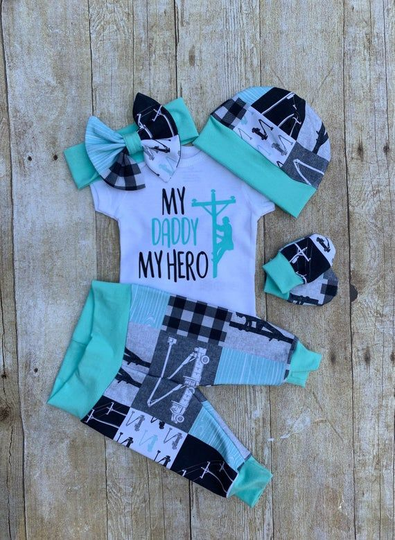 Photo of Baby Girl Daddy LINEMAN Coming Home Outfit, My Daddy My Hero Lineman Girl's Set, Baby Shower Gift, A