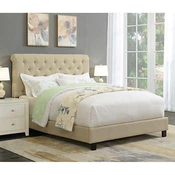 Ansel Rolled Tufted Upholstered Queen Bed Frame Queen