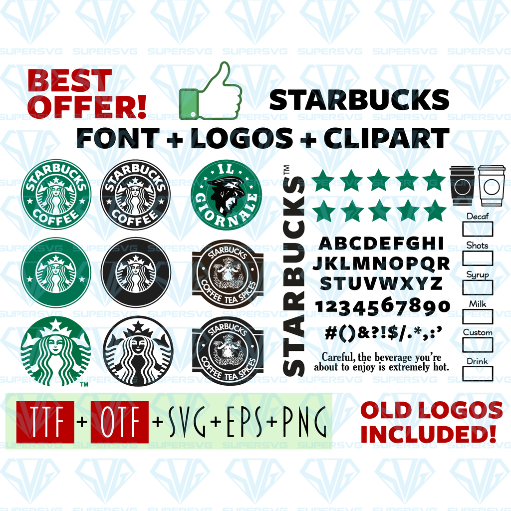 Starbucks Font and Logo SVG Files For Silhouette, Files For Cricut, SVG, DXF, EPS, PNG Instant ...