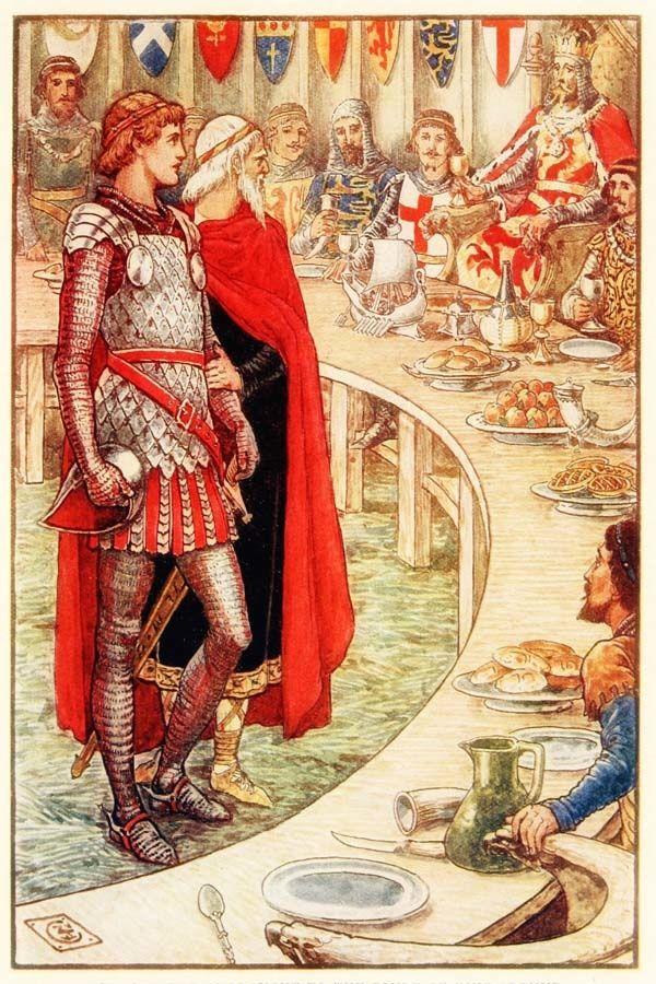 Walter crane les chevaliers du roi arthur roi arthur - La table ronde du roi arthur ...