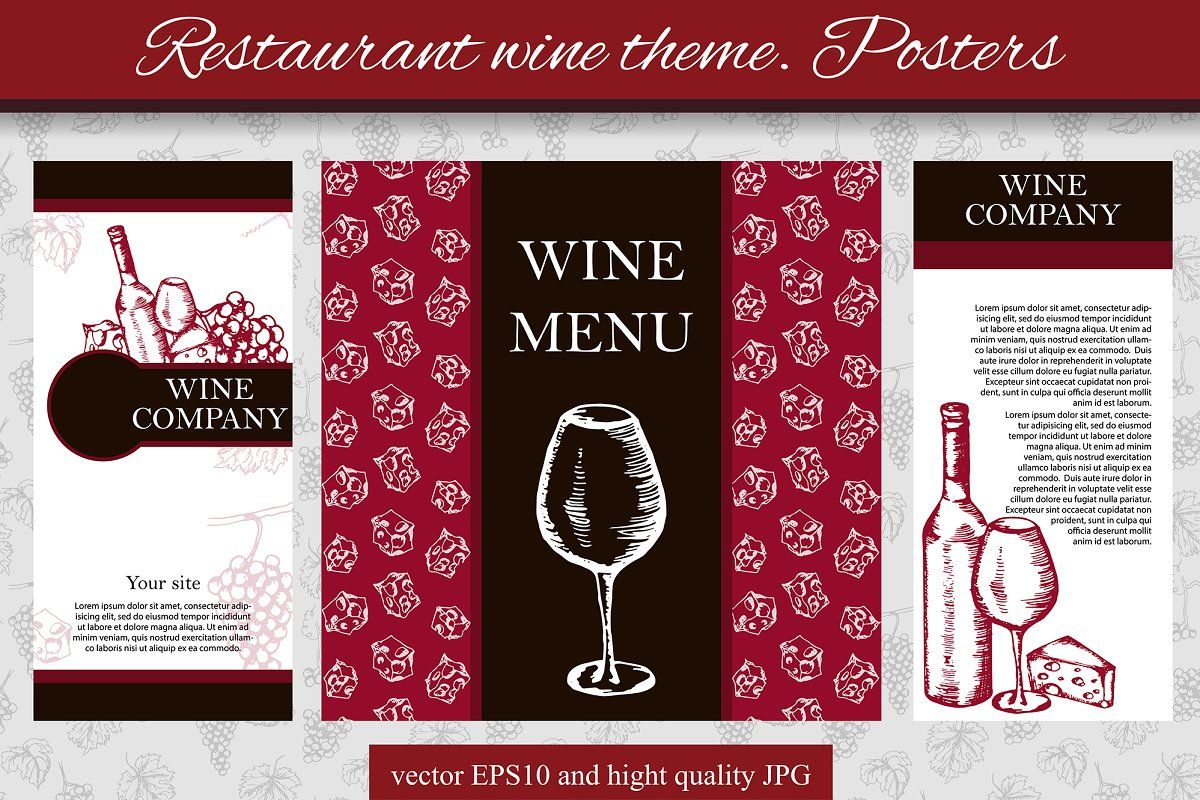 Restaurant Wine Theme Posters In 2020 Wine Theme Restaurant Themes Stationery Templates