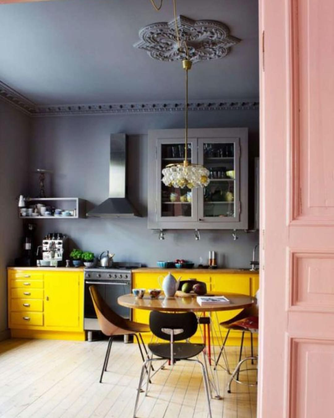 So much colour in this fabulous kitchen An usual colour palette ...