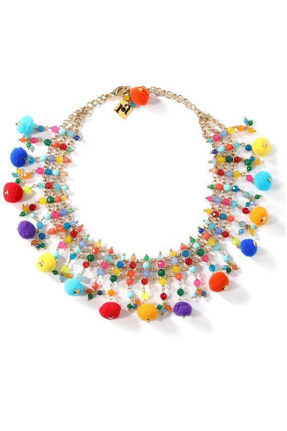Rosantica Rosantica Woman Gold-tone, Pompom And Bead Bracelet Multicolor Size