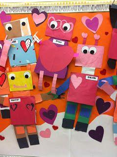 It's a Love'Bot Craftivity!  Rakkausrobotti ystävänpäivään,toimii kun kiinnittää listan kts. seur