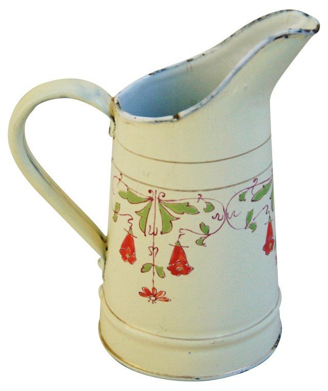 French Hand-Painted Honeysuckle Pitcher