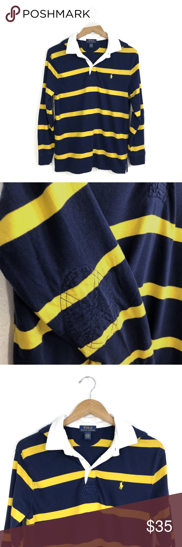 Kid\u0027s POLO Navy Yellow Striped Hoodie Size Large. Navy and blue polo  hoodie. Elbow