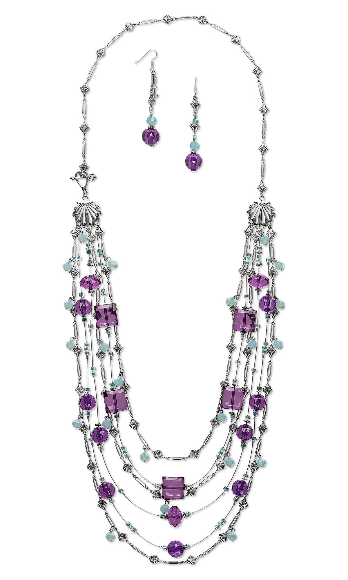 Jewelry Design - Multi-Strand Necklace and Earring Set with Acrylic ...