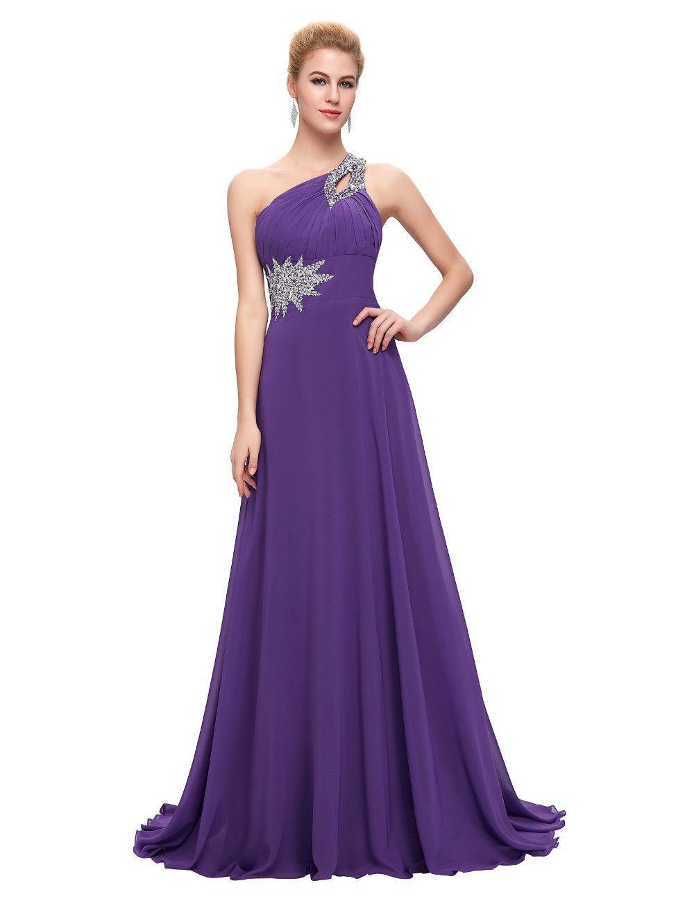 Chiffon Bridesmaid /Prom Dresses One Shoulder Prom Dress at Bling ...