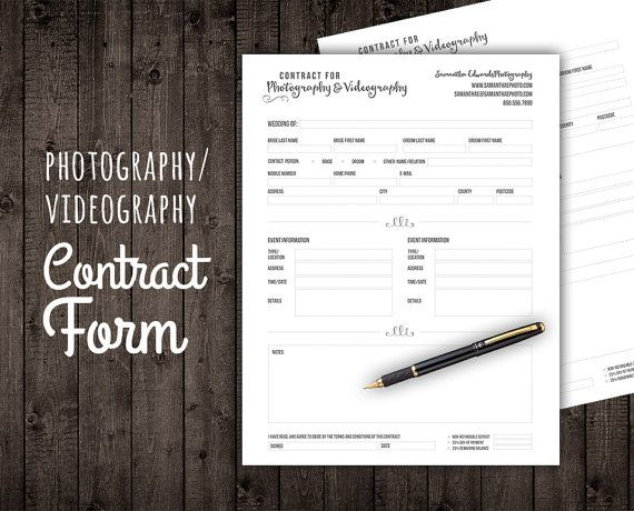 Client Agreement Contract Form for by StudioTwentyNine on Etsy - videography contract template