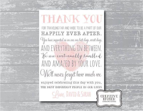 Custom Thank You Poem Wedding Signage Printable By CreativePapier