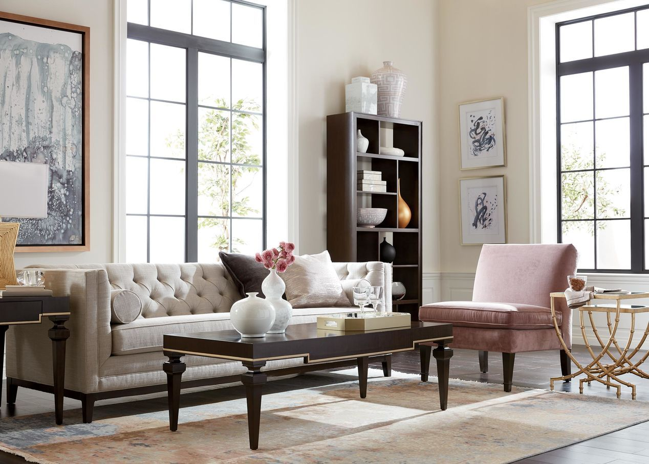 Loft Living Room With A Neutral Tufted Ethan Allen Anderson Sofa Ethan Allen Living Room Living Room Accessories Living Room Chairs