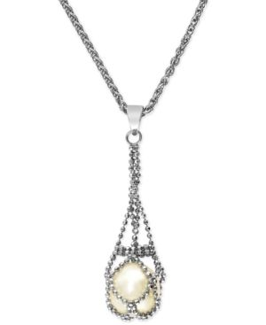 Pearl Lace by Effy Cultured Freshwater Pearl Cage Pendant Necklace in Sterling Silver (11-1/2mm)
