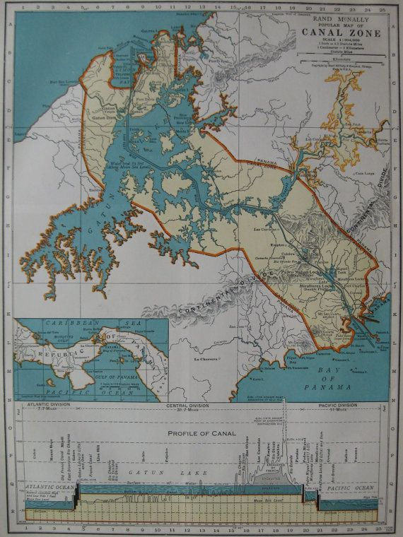 1939 Vintage PANAMA CANAL Map of The Panama Canal  by plaindealing