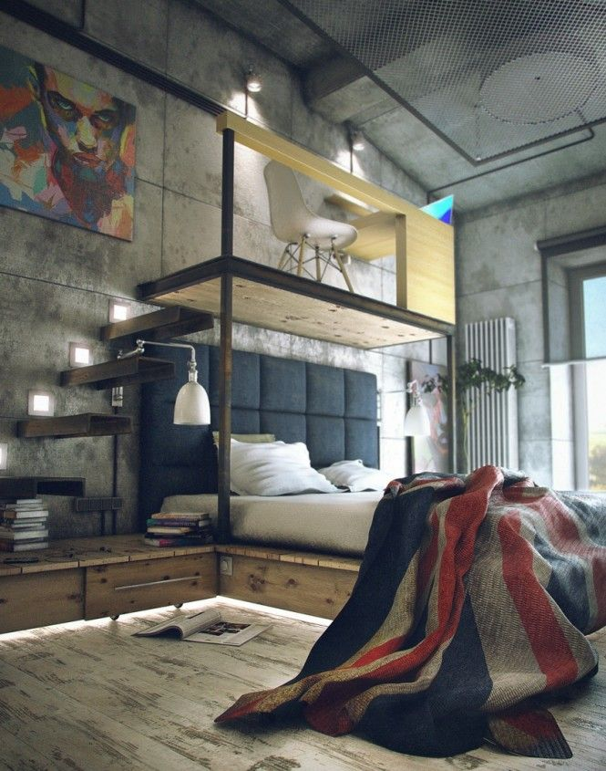 Chambre loft style industriel / Workshop industrial style bedroom ...