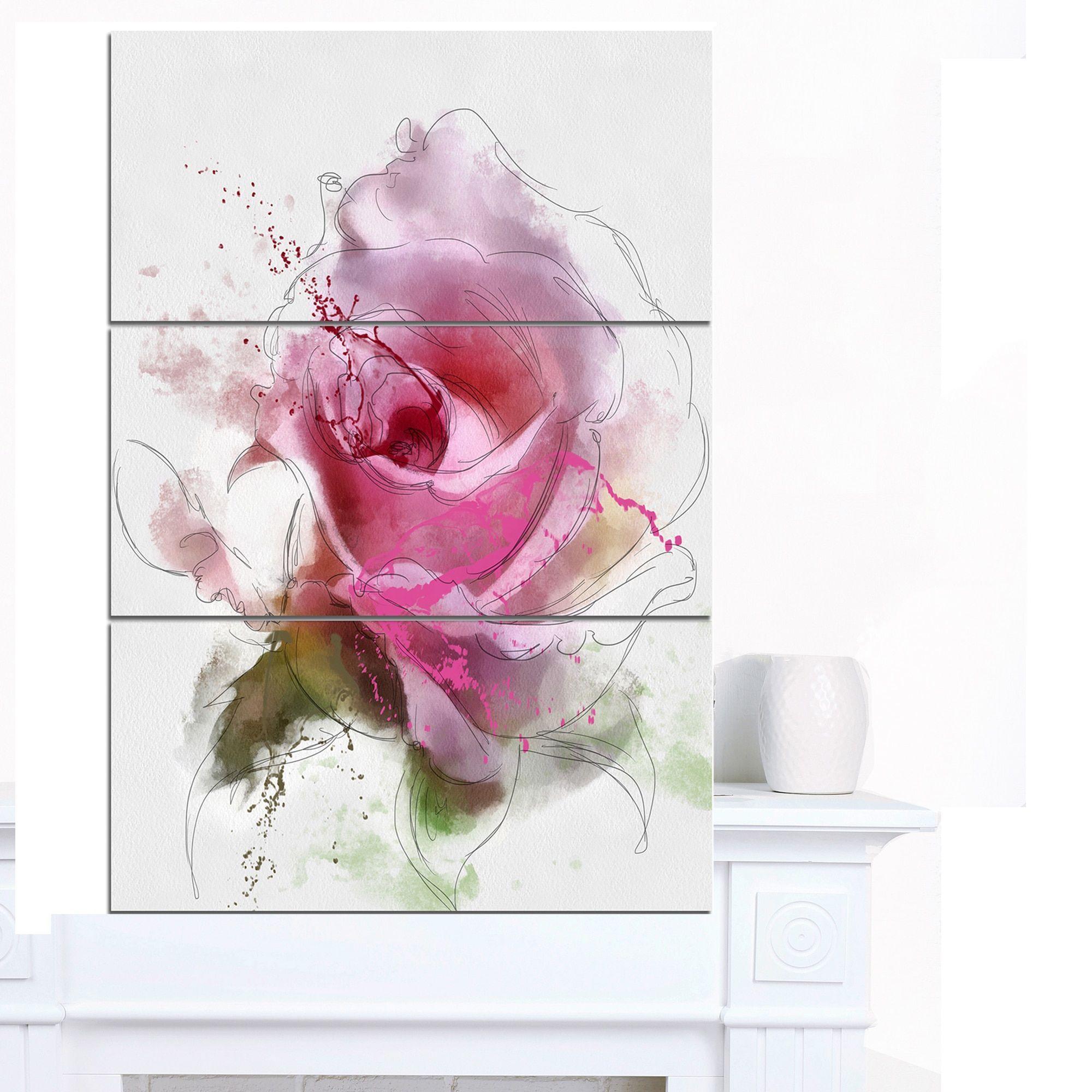 Designart ' Rose Flower Watercolor' Modern Floral Canvas Wall Art