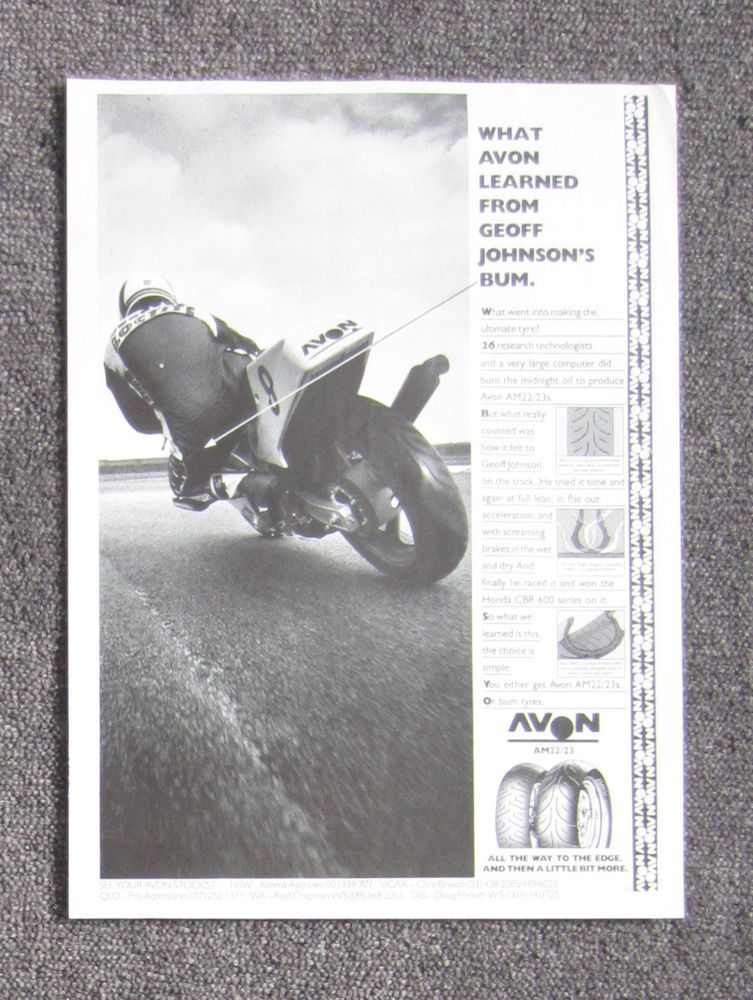 Avon Motorcycle Sport Tyres  Magazine Page Sales Ad