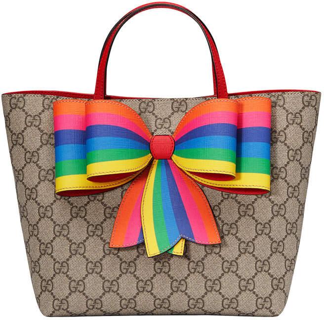 Gucci Kids Children s GG Supreme rainbow bow tote  52192fa97ace3