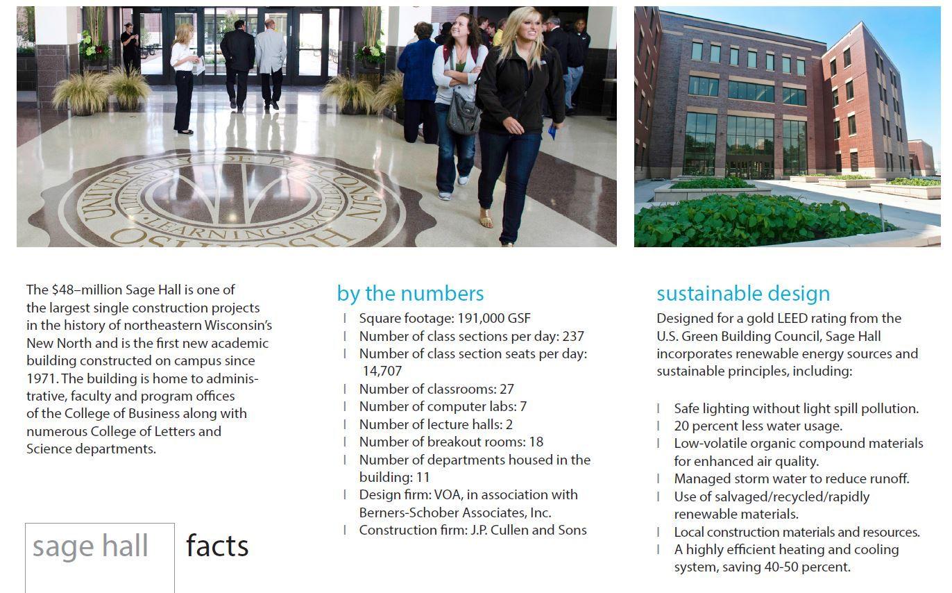 Uw Oshkosh Sage Hall Sustainable Design Green Building Sage
