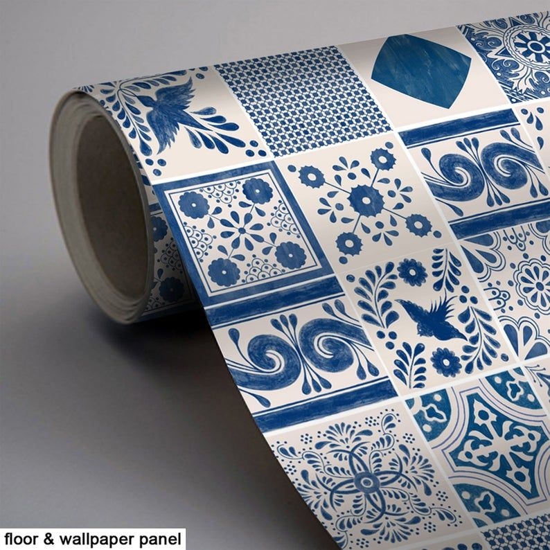 Mexican Indigo Mix Wallpaper Removable Vinyl Wallpaper Peel Stick No Glue No Mess Vinyl Wallpaper Tile Decals Sophisticated Tile