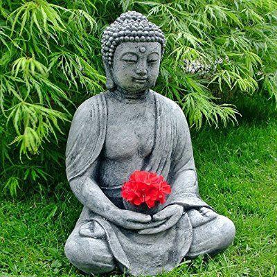 Wonderful Stein BUDDHA Feng Shui Steinfigur Grau / Anthrazit Patiniert Massiv  Skulptur Garten Deko Frostfrei Neu