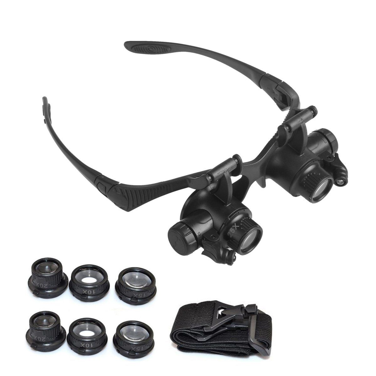 ddcab3c77c27 Magnifying Glasses Magnifier Eye Loupe 10X 15X 20X 25X Jewelry Watch Repair  Magnifying Eyewear With 2LED Lights Loupe Microscope