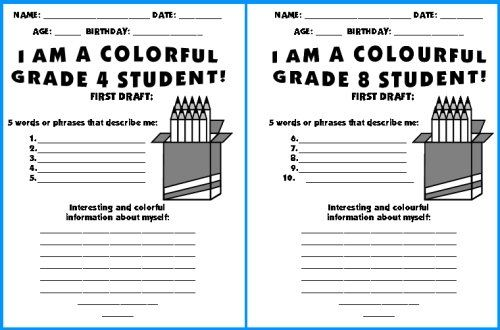 Grade back to school creative writing ideas and worksheets also color pencil templates topic we are colorful students rh pinterest
