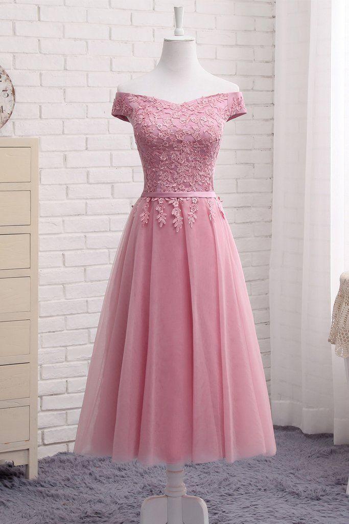 Pink tulle tea length A-line prom dress, appliqués ...
